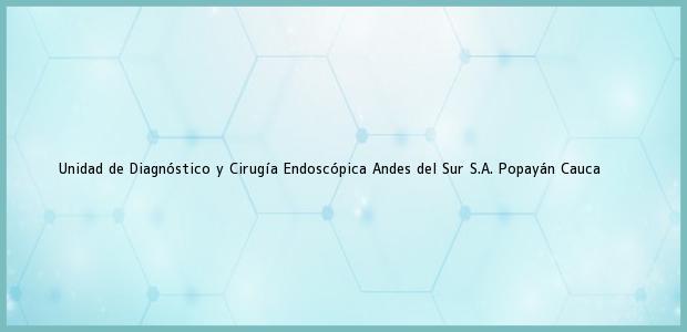 Teléfono, Dirección y otros datos de contacto para Unidad de Diagnóstico y Cirugía Endoscópica Andes del Sur S.A., Popayán, Cauca, Colombia