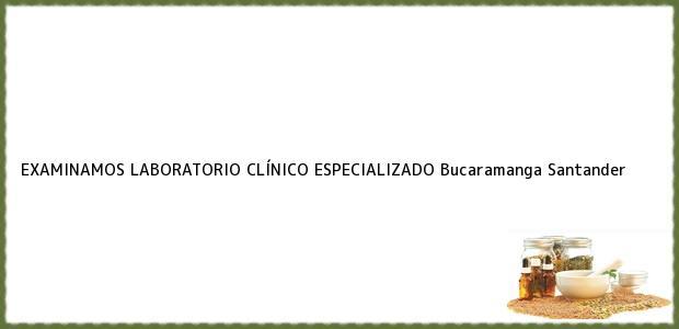 Teléfono, Dirección y otros datos de contacto para Examinamos Laboratorio Clinico Especializado, Bucaramanga, Santander, Colombia