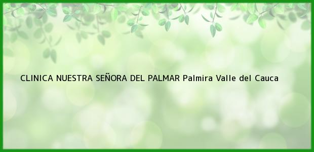 Teléfono, Dirección y otros datos de contacto para CLINICA NUESTRA SEÑORA DEL PALMAR, Palmira, Valle del Cauca, Colombia